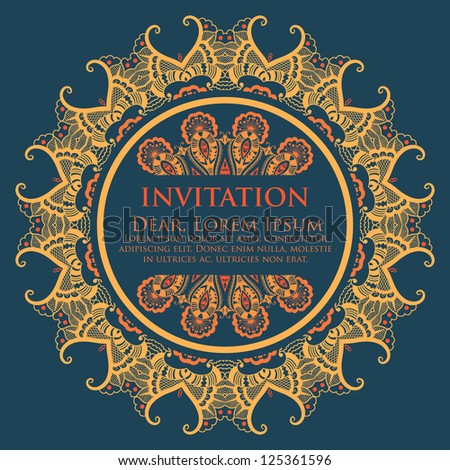 Vector invitation card ornamental round lace stock vector vector invitation card with ornamental round lace with damask and arabesque elements mehndi style stopboris Images