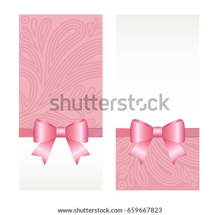 Vector invitation card pink holiday ribbon stock vector 659667823 vector invitation card with pink holiday ribbon and bow gift voucher template with place for stopboris Gallery