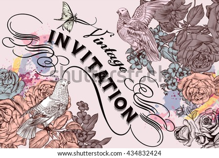 Vector invitation card with roses doves and flourishes for design - stock vector