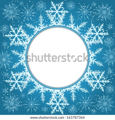 Vector Invitation Card Snowflakes New Year Stock Vector 163787366