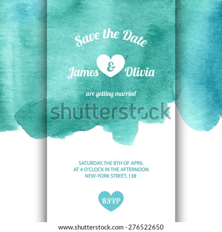 Vector invitation card with watercolor elements in blue and green light colors. Watercolor collection. EPS10. - stock vector