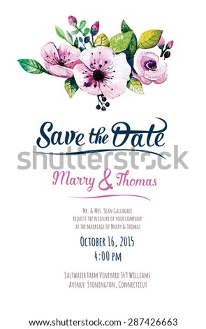 Vector  invitation card with watercolor elements. Wedding collection. Save the date with floral elements. Blossom flowers.