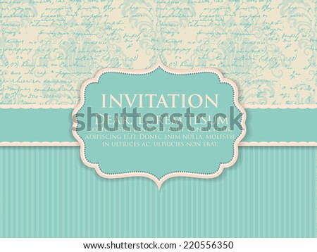 Vector invitation or wedding card with abstract handwriting text background and elegant damask elements. eps10