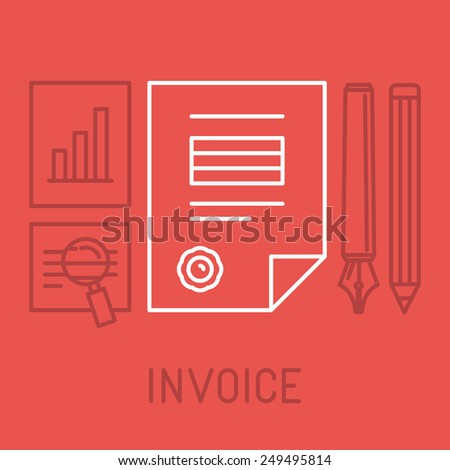Vector invoice concept in outline style - bill icon with stamp paid - stock vector