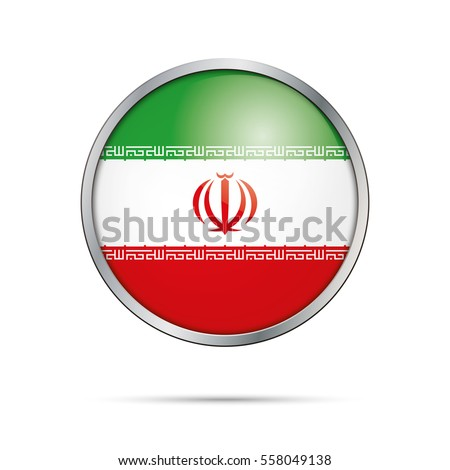 Vector Iranian flag button. Iran flag glass button style with metal frame.