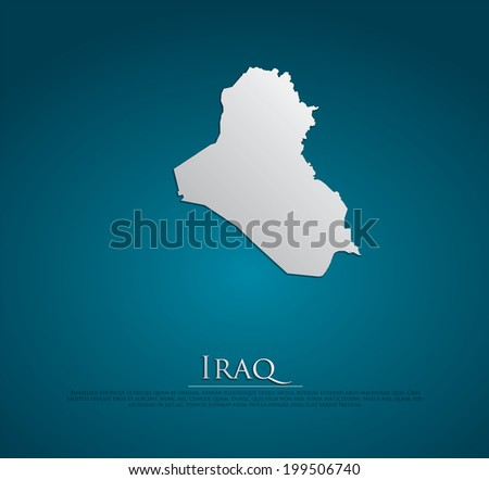 vector Iraq Map card paper on blue background, high detailed - stock vector