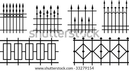 Vector iron fences - stock vector