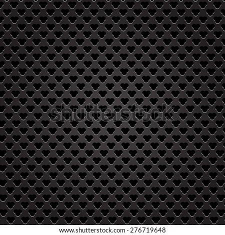 Vector Iron Perforated Texture. Dark Metal Perforated Background.