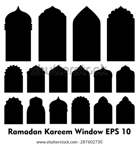Vector Islamic door and window shapes / Arabic door and window vector silhouette     - stock vector