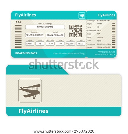 Vector isolated airline ticket with cover on a white background - stock vector