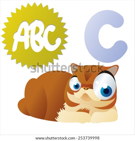 vector isolated animal abc: C is for Cat - stock vector