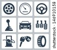Vector isolated auto icons set - stock vector