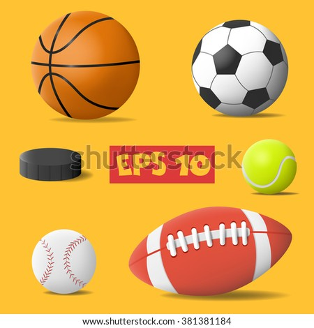 Vector isolated ball. Sport balls icon. Sport equipment icon