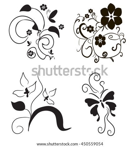 vector, isolated, beautiful floral patterns