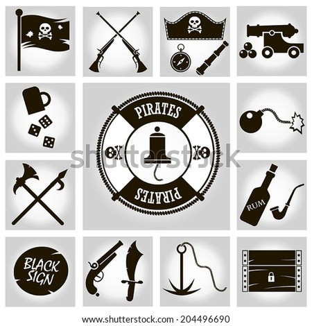 Vector isolated black icons pirates on a gray background