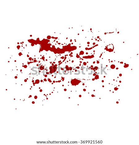 Vector isolated blood splash. Red splashes, ink traces