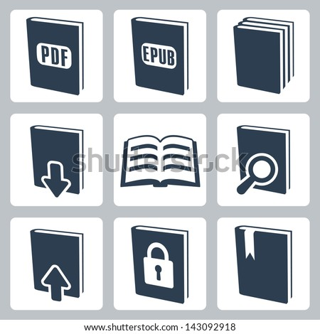 Vector isolated books icons set - stock vector