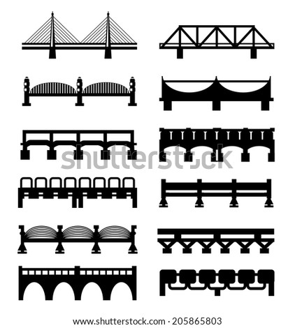 Vector isolated bridges big icons set