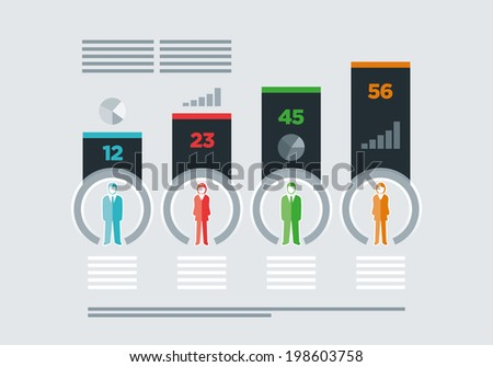 Vector isolated business people infographic template. EPS10 file. - stock vector