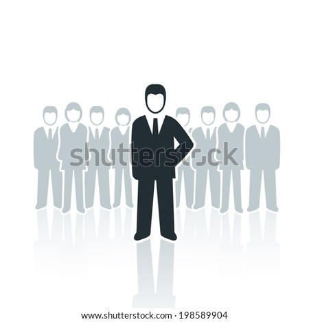 Vector isolated businessman leadership concept illustration. - stock vector