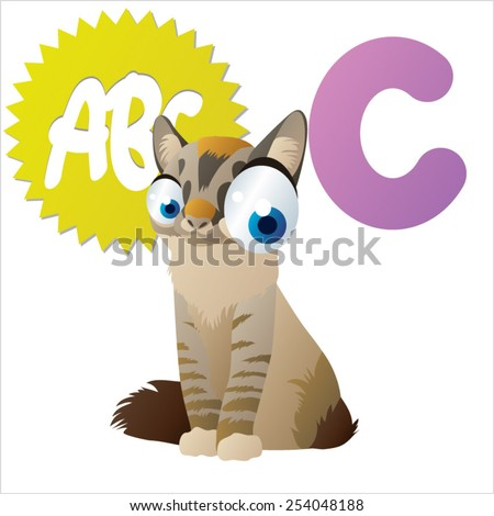 vector isolated cartoon animals abc: C is for Cat - stock vector