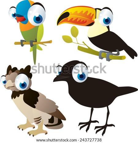 vector isolated cartoon cute animals set: birds: parrot, harpy, crow, toucan - stock vector