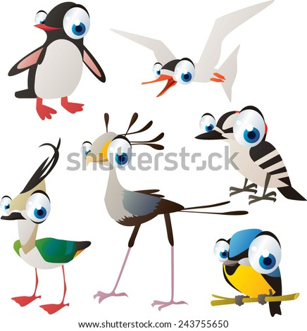 vector isolated cartoon cute animals set: birds: penguin, tern, woodpecker, titmouse, secretary bird, lapwing - stock vector
