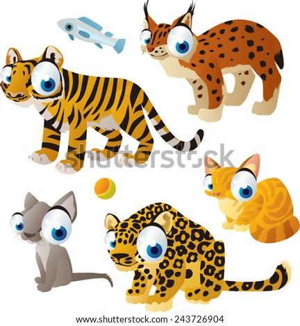 vector isolated cartoon cute animals set: cats: tiger, lynx, jaguar, cat, kitten - stock vector