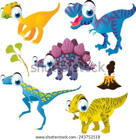 vector isolated cartoon cute animals set: dinosaurs: fabrosaurus, stegosaurus, tyrannosaurus, wannanosaurus, maiasaura - stock vector