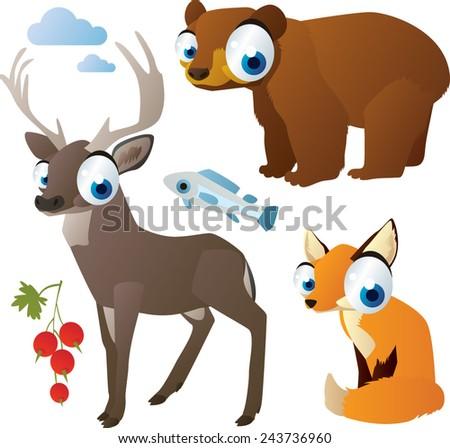 vector isolated cartoon cute animals set: forest: bear, deer, fox - stock vector