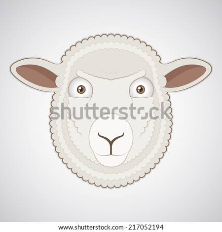 Vector. Isolated cartoon sheep head. Closeup. - stock vector