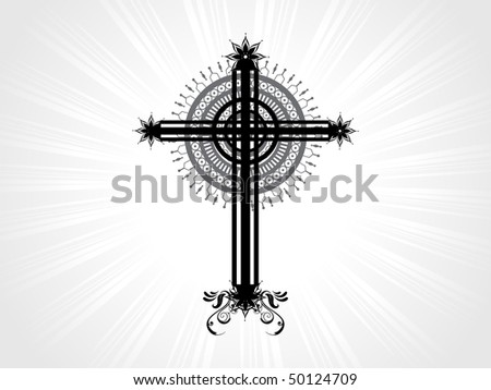 vector isolated christian cross with grey rays background - stock vector
