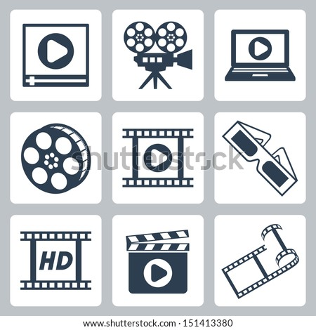Vector isolated cinema/video icons set - stock vector