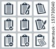 Vector isolated clipboard, list icons set - stock