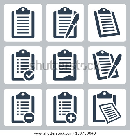 Vector isolated clipboard, list icons set - stock vector