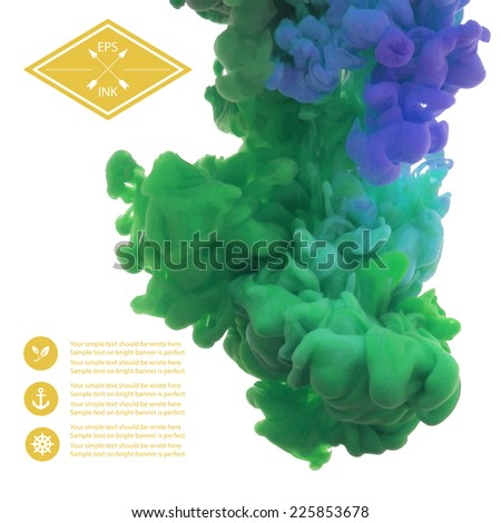 Vector isolated cloud of green,blue,violet ink swirling in water on white background. Template design. Texture of splashes of paint, ink - stock vector
