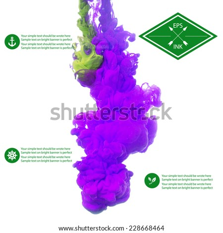 Vector isolated cloud of violet and green ink swirling in water on white background. Template design for infographics. Texture of splashes of paint, ink - stock vector