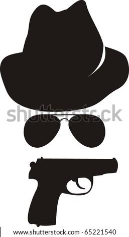 Vector isolated comic illustration - cartoon spy accessories - stock vector