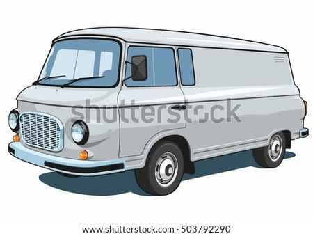 Vector isolated commercial van on white background.