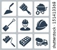 Vector isolated construction icons set - stock vector