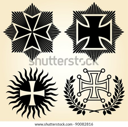 vector isolated crosses - stock vector