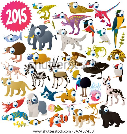 vector isolated cute cartoon funny animals collection set. African animal, dogs, sea life animals, birds and dinosaurs. For kids apps, books or illustration for nature lovers.  - stock vector