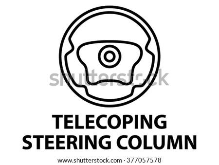 vector isolated dashboard sign with description. telescoping steering column - stock vector