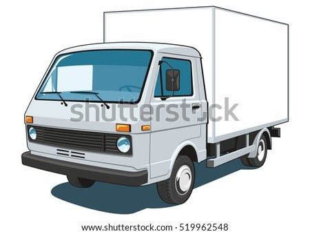 Vector isolated delivery, commercial  truck on white background.