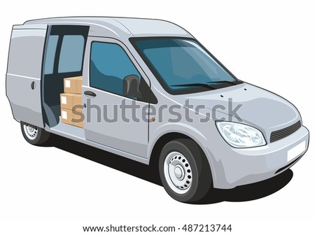 Vector isolated delivery van on white background