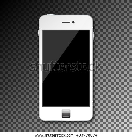 Vector isolated empty blank mobile phone smartphone on transparent grid - stock vector