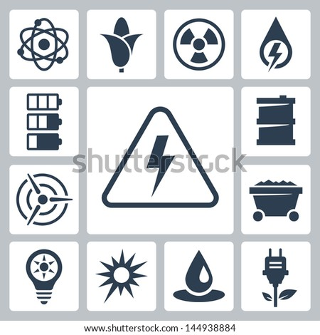 Vector isolated energy icons set - stock vector