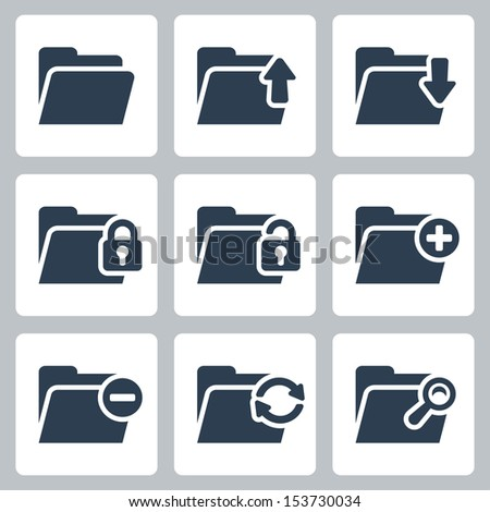Vector isolated folder icons set - stock vector