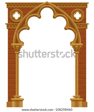 Vector isolated frame in form of the stone decorated gothic arch - stock vector