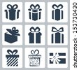 Vector isolated gift, present icons set - stock vector